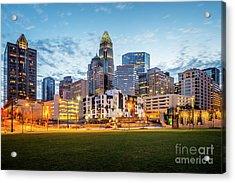 Downtown Charlotte Skyline At Dusk Acrylic Print by Paul Velgos