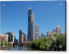 Downtown Chicago Skyline - View Along The River Acrylic Print by Suzanne Gaff