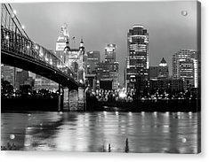 Acrylic Print featuring the photograph Downtown Cincinnati City Skyline - Black And White by Gregory Ballos