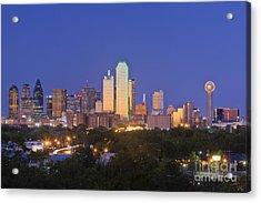 Downtown Dallas Skyline At Dusk Acrylic Print by Jeremy Woodhouse
