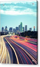 Acrylic Print featuring the photograph Downtown Dallas Texas Skyline Drive by Gregory Ballos