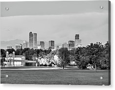 Downtown Denver Skyline - Black And White Acrylic Print