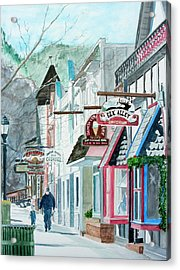 Acrylic Print featuring the painting Downtown Estes Park Winter by Tom Riggs