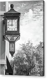 Downtown Fayetteville Arkansas Clock In Black And White Acrylic Print