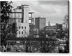 Downtown Fayetteville Arkansas Skyline - Dickson Street - Black And White Edition. Acrylic Print by Gregory Ballos