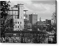 Downtown Fayetteville Arkansas Skyline - Dickson Street - Black And White Edition. Acrylic Print