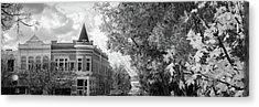 Downtown Fayetteville Arkansas Skyline Panorama - Black And White Acrylic Print