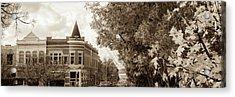 Downtown Fayetteville Arkansas Skyline Panorama - Sepia Acrylic Print