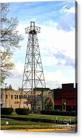 Downtown Gladewater Oil Derrick Acrylic Print by Kathy  White