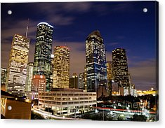 Downtown Houston At Night Acrylic Print by Olivier Steiner