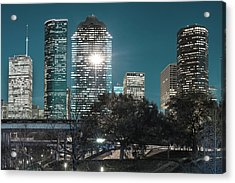 Downtown Houston City Skyline - Midnight Blues Acrylic Print