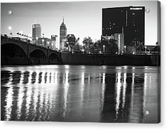 Acrylic Print featuring the photograph Downtown Indianapolis City Skyline - Black And White by Gregory Ballos