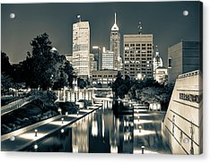 Downtown Indianapolis Indiana Skyline In Sepia Acrylic Print by Gregory Ballos