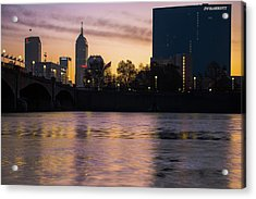 Downtown Indianapolis Skyline Silhouettes On The Water Acrylic Print by Gregory Ballos