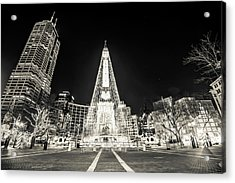 Downtown Indy Circle Of Lights - Monument Circle In Bw - Indianapolis Acrylic Print by Gregory Ballos