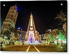 Downtown Indy Circle Of Lights - Monument Circle - Indianapolis Acrylic Print by Gregory Ballos