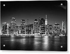 Downtown Manhattan Bw Acrylic Print by Az Jackson