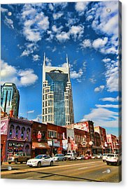Downtown Nashville Blue Sky Acrylic Print by Dan Sproul