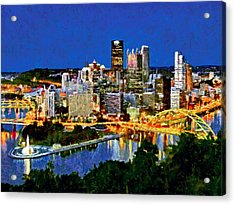 Acrylic Print featuring the digital art Downtown Pittsburgh At Twilight by Digital Photographic Arts