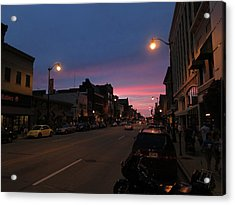 Acrylic Print featuring the photograph Downtown Racine At Dusk by Mark Czerniec