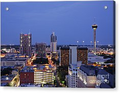 Downtown San Antonio At Night Acrylic Print by Jeremy Woodhouse