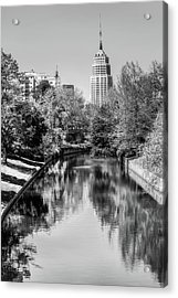 Acrylic Print featuring the photograph Downtown San Antonio Skyline On The River In Black And White by Gregory Ballos