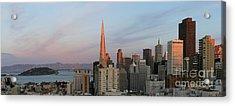 Downtown San Francisco And Bay Bridge Acrylic Print by Matt Tilghman