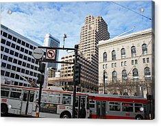 Downtown San Francisco - Market Street Buses Acrylic Print by Matt Harang