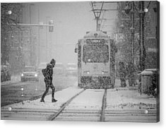 Downtown Snow Storm Acrylic Print