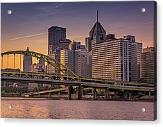 Downtown Steel Acrylic Print by Rick Berk