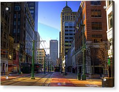 Downtown Sunday Morning In February Acrylic Print by Don Nieman
