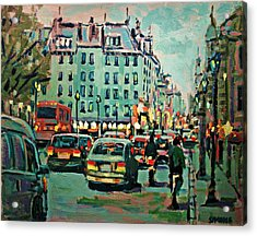 Downtown Traffic Acrylic Print by Brian Simons