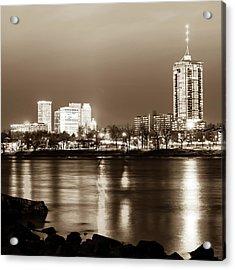 Downtown Tulsa Cityscape Skyline - Sepia Edition - Square Format  Acrylic Print