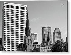 Downtown Tulsa Oklahoma Architecture Black And White Acrylic Print