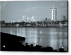 Downtown Tulsa Oklahoma - University Tower View - Black And White Acrylic Print by Gregory Ballos