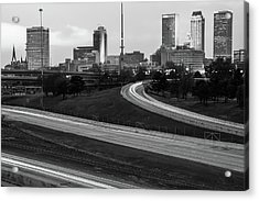 Downtown Tulsa Oklahoma With Passing Traffic Black And White Acrylic Print