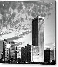 Acrylic Print featuring the photograph Downtown Tulsa Skyline Squared In Black And White by Gregory Ballos