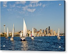 Downtwon Seattle Waterfront Acrylic Print by Tom Dowd