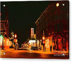 Doylestown-county Theater At Night Acrylic Print by Addie Hocynec