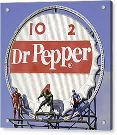 Dr Pepper And The Avengers Squared Acrylic Print by Keith Mucha