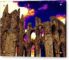 Dracula Abbey In Whitby England Acrylic Print by Jen White