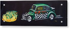 Acrylic Print featuring the painting Drag Racing Vw by Richard Le Page