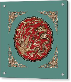 Dragon And Phoenix Acrylic Print