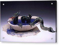 Dragon Bath Acrylic Print by Doris Lindsey