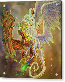 Acrylic Print featuring the painting Dragon Dancers by Steve Roberts