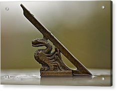 Dragon Figure On Sundial Acrylic Print by Robert Joseph