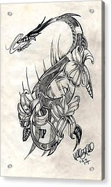 Acrylic Print featuring the drawing Dragon by Michelle Dallocchio