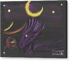 Acrylic Print featuring the painting Dragon Night by Roxy Riou