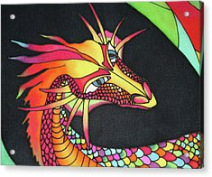 Dragon Painted By Hand Silk Scarf Acrylic Print