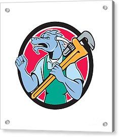 Dragon Plumber Monkey Wrench Fist Pump Cartoon Acrylic Print by Aloysius Patrimonio
